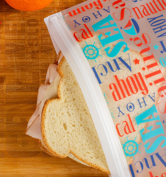 Ziparoos Reusable 2-Piece Extra Large Sandwich Quart Freezer Bags Nautical Design are versitle and can be used as a lunch bag for sandwiches