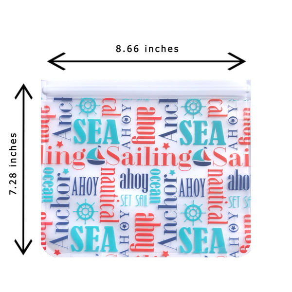 Ziparoos Reusable 2-Piece Extra Large Sandwich Quart Freezer Bags Nautical Design have double-lock zipper on the wide size giving a large opening