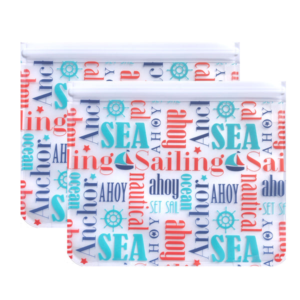 Ziparoos Reusable 2-Piece Extra Large Sandwich Quart Freezer Bags Nautical Design