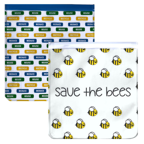 Ziparoos Reusable 2-Piece Gallon Size Freezer Bags Earth Friends Design Save the Bees/Reduce Reuse Recycle