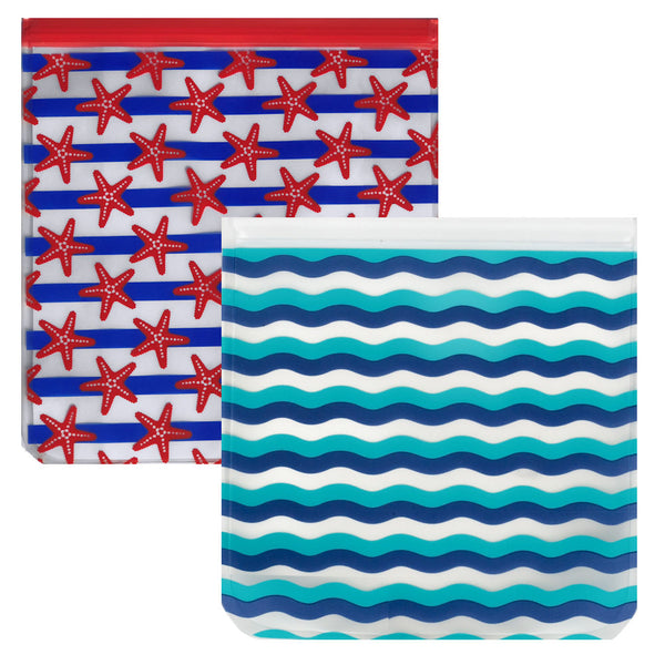 Ziparoos Reusable 2-Piece Gallon Size Freezer Bags Nautical Design