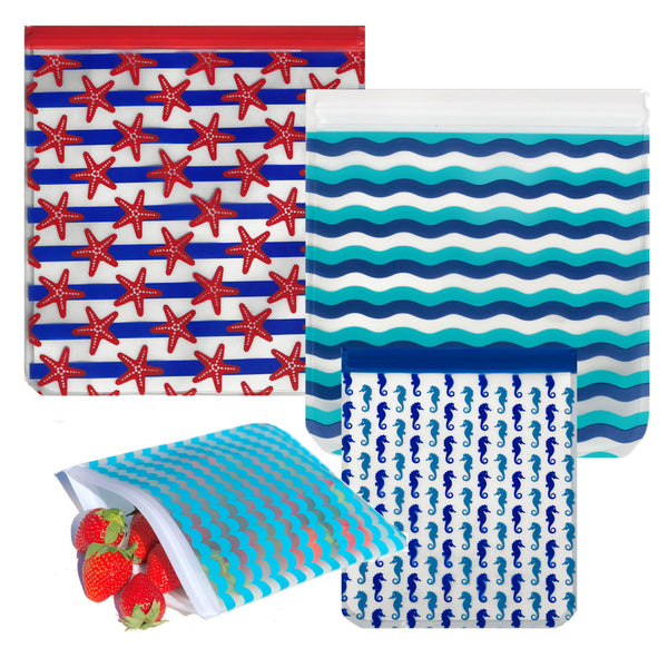Ziparoos Reusable 4-Piece Gallon Quart Size Freezer Bags Nautical Design Starfish, Waves, Seahorses Multi sized bags
