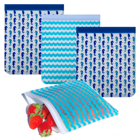 Reusable 4-Piece Quart Freezer Bags Set- Seahorses & Waves