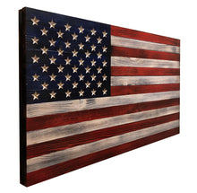 "Load image into Gallery viewer, Large Rustic (19""x36"") Wooden American Flag With  Inset Stars - Subvet Customs"