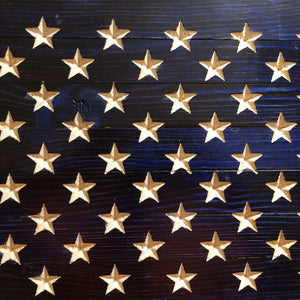 "Large Rustic (19""x36"") Wooden American Flag With  Inset Stars - Subvet Customs"