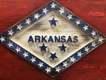 "Load image into Gallery viewer, 3-D, Wood Carved, 18""x19"" State of Arkansas Flag - Subvet Customs"