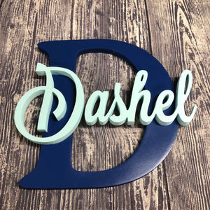 "12"" MDF Wood Monogram with Script Name - Subvet Customs"