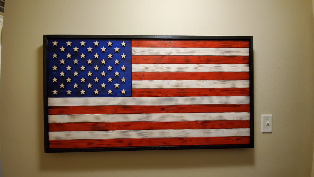 Large Rustic American Flag 4ft - 48