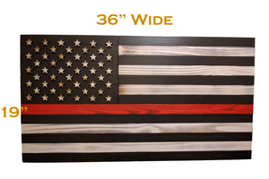 "Large 19""x36"" Rustic Wood ""Thin Red Line"" American Flag for Fire Fighters with 3D Raised Stars - Subvet Customs"