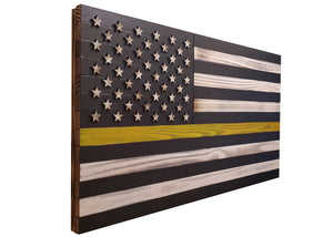 "Large 19""x36"" Rustic Wood ""Thin Yellow Line"" American Flag for Dispatcher, Security, and Tow Truck Drivers with 3D Raised Stars - Subvet Customs"