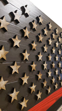 "Load image into Gallery viewer, Large 19""x36"" Rustic Wood ""Thin Red Line"" American Flag for Fire Fighters with 3D Raised Stars - Subvet Customs"