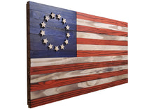 "Load image into Gallery viewer, Wooden Betsy Ross American Flag - 36"" x 19"" - Standard Coloring - Subvet Customs"