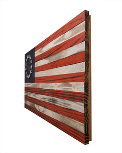 "Wooden Betsy Ross American Flag - 36"" x 19"" - Standard Coloring - Subvet Customs"