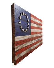 "Load image into Gallery viewer, Wooden Betsy Ross American Flag - 36"" x 19"" - Standard Coloring"