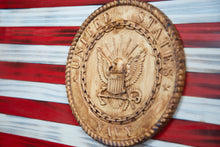 "Load image into Gallery viewer, Raised Stars American Flag - 19"" x 36"" - with U.S. Navy Medallion - Subvet Customs"