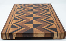 Load image into Gallery viewer, End Grain Geometric Cutting Board from Maple, Walnut, and Cherry. - Subvet Customs