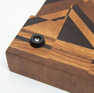 End Grain Geometric Cutting Board from Maple, Walnut, and Cherry. - Subvet Customs