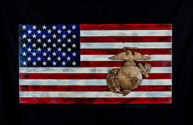 American Flag with 3-D Marine Corps EGA - Subvet Customs