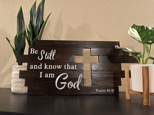 "Christian Cross Wall Art With ""Be Still And Know That I Am God"" Scripture Quote - Subvet Customs"