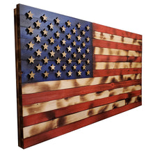 "Load image into Gallery viewer, Natural Color Rustic American Flag - 19""x36""  - with 3D Raised Stars - Subvet Customs"
