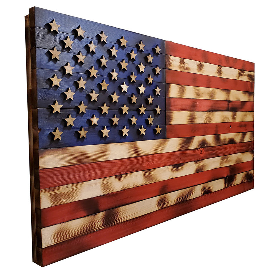 Natural Color Rustic American Flag - 19