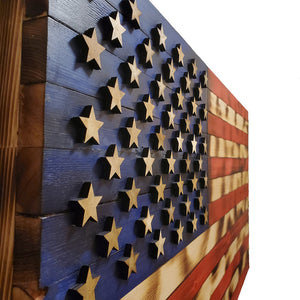 "Natural Color Rustic American Flag - 19""x36""  - with 3D Raised Stars - Subvet Customs"