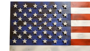 "36""x19"" Large Red, White, and Blue American Flag with 3D Raised Stars. - Subvet Customs"