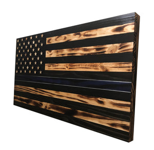 "36""x19""  Wood ""Thin Blue Line"" American Flag with 3-D Raised Stars for Law Enforcement - Subvet Customs"