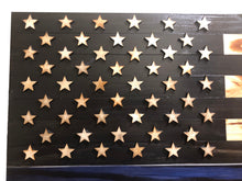 "Load image into Gallery viewer, 36""x19""  Wood ""Thin Blue Line"" American Flag with 3-D Raised Stars for Law Enforcement - Subvet Customs"