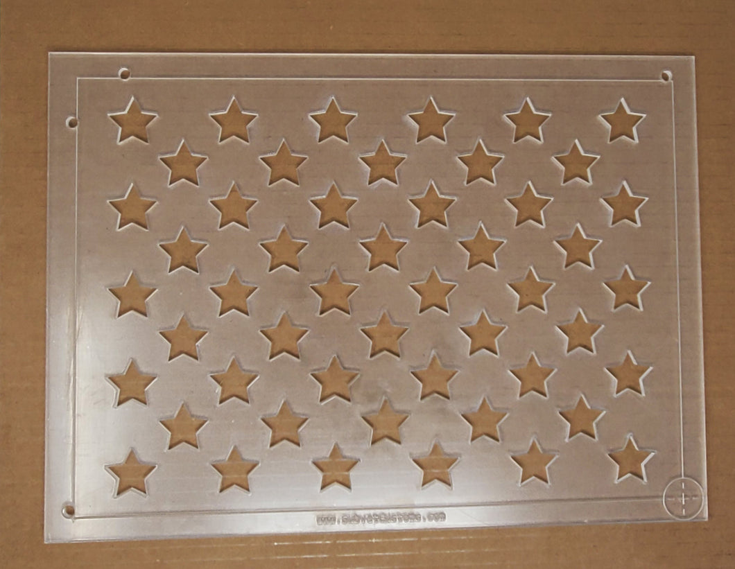 Acrylic Union Star Stencil for 19 x 36 inch American Flag with Alignment Slots and Reticle - Subvet Customs