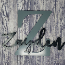 "Load image into Gallery viewer, 12"" MDF Wood Monogram with Script Name - Subvet Customs"