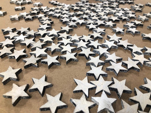 "(50pc) 1"" White Painted -  Wood Stars .25 inch thick - Subvet Customs"