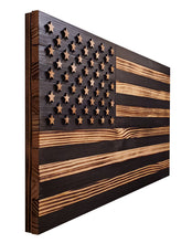 "Load image into Gallery viewer, 36"" x 19"" Large Subdued Black and Natural Pine American Flag with Neutral Tones and 3-D Raised Stars - Subvet Customs"