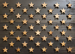 "36"" x 19"" Large Subdued Black and Natural Pine American Flag with Neutral Tones and 3-D Raised Stars - Subvet Customs"