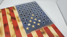 Load image into Gallery viewer, Acrylic Union Star Stencil for 19 x 36 inch American Flag with Alignment Slots and Reticle - Subvet Customs