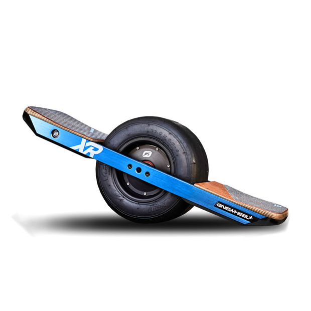 Onewheel+ XR blue rails angle view