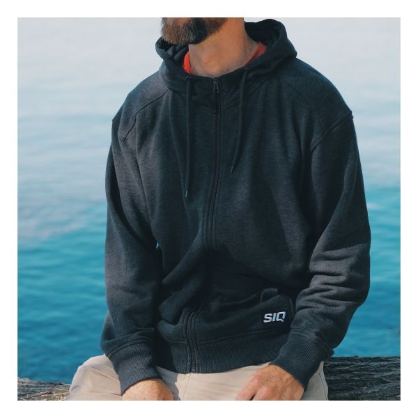 Front view of man wearing SiQ Mountain Industries charcoal Classic Hoodie