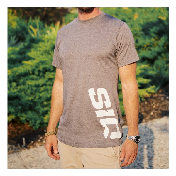 Front view of man wearing SiQ Mountain Industries charcoal Sideswipe T-Shirt
