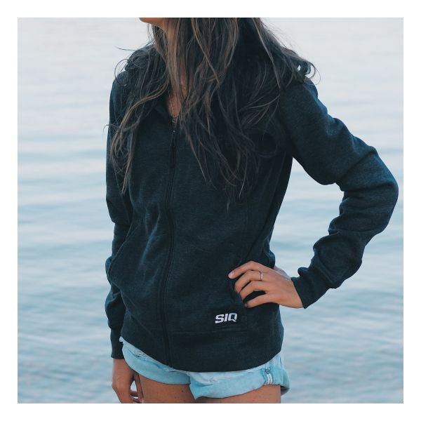 Front view of woman wearing SiQ Mountain Industries charcoal Classic Hoodie