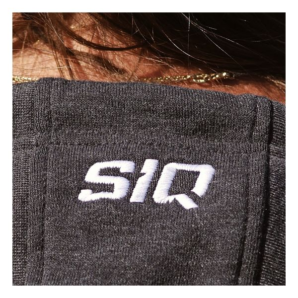 Hood detail of SiQ Mountain Industries charcoal Classic Hoodie