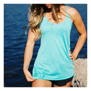Front view of woman wearing SiQ Mountain Industries Tahiti Tank