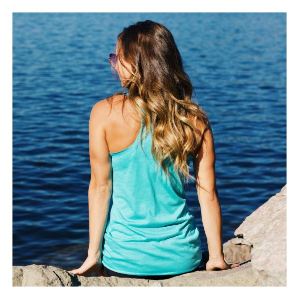 Back view of woman wearing SiQ Mountain Industries Tahiti Tank