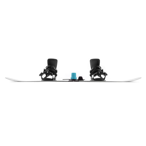 Blue SiQRocker on snowboard showing camber from the side