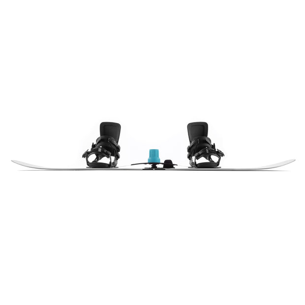 Blue SiQRocker on snowboard showing rocker from the side