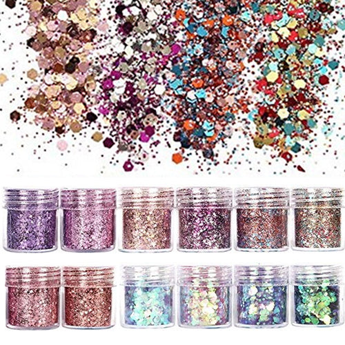 12 Boxes Glitter Nail Art Sequins Laser Butterfly Nail Sequins Acrylic Paillettes for Cosmetic Face Eyes Body Hair Decorations