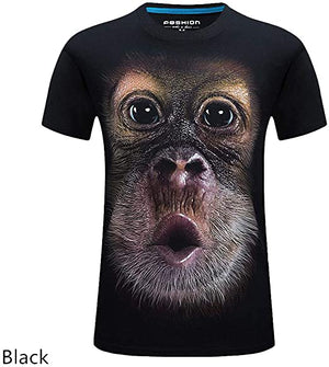 Men's O-Neck Short Sleeve Animal T-Shirt Monkey/Lion 3D Digital Printed T Shirt