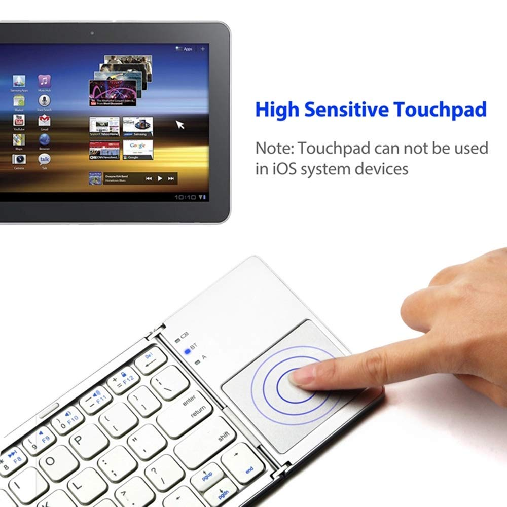Triple Bluetooth Keyboard with Touchpad,USB+ Bluetooth Dual Mode Comb Foldable Wireless Ultra-Slim Portable Bluetooth Keyboard for Android/Windows/Mac/iOS Systems.