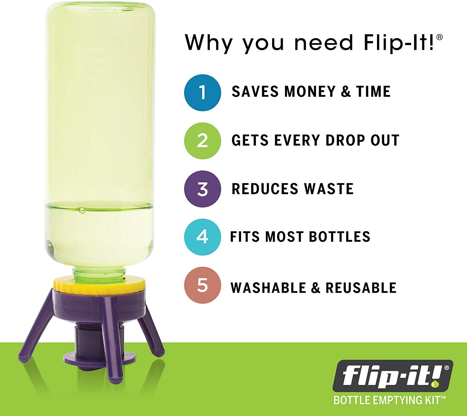 Bottle Emptying Kit - Flip Bottle Upside Down To Get Every Last Drop Out of Honey, Ketchup, Condiments and Beauty Products With Flip-It!
