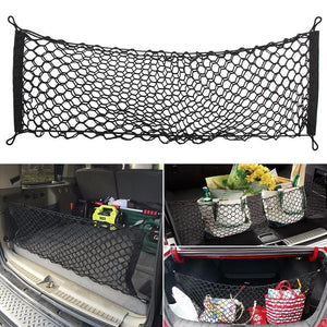 "Adjustable 35.4"" x 15.7""Universal Envelope Car Trunk Luggage Storage Cargo Net - Universal Stretchable Truck Net with 4 Hooks"