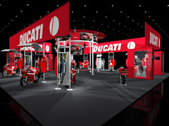 red trade show booth
